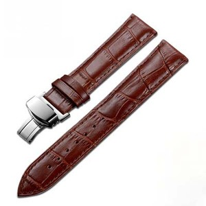 genuine leather band waterproof 20mm watchband butterfly buckle watchbands men's