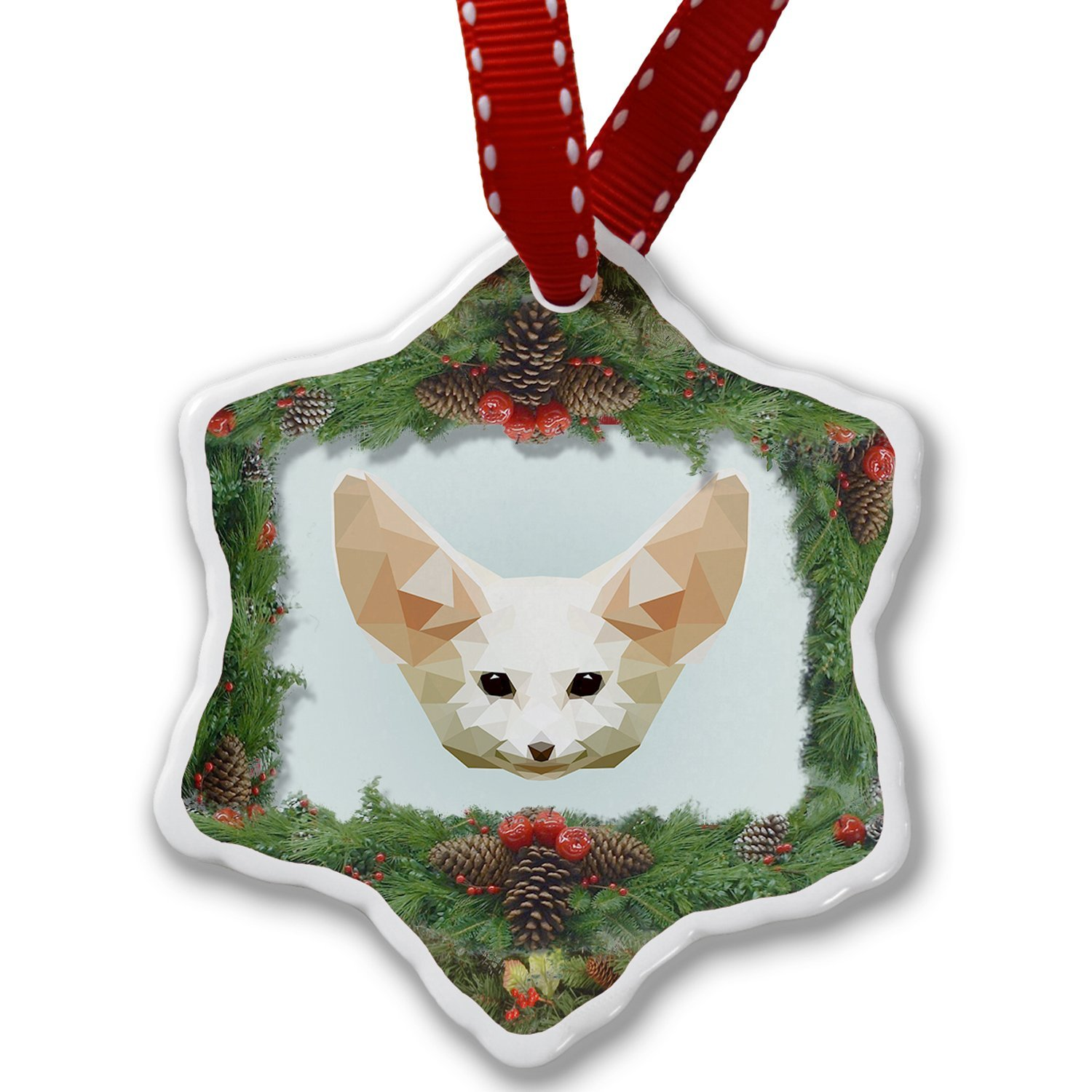 Christmas Ornament Low Poly Animals Modern design Fennec Fox - Neonblond