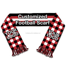 Good Quality Low MOQ Good Price 100% Acrylic Double Sides Knitted Jacquard Sports Fan Cheering Custom Football Scarf