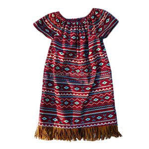 2016 yawoo wholesale baby girls aztec dress printed knitted cotton with tassels fabric boho design children girls dresses