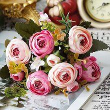 10 головок, винтажные шелковые цветы, ретро Чайные розы, искусственные цветы, букет невесты для свадьбы, украшения дома, искусственные цветы ...(Китай)