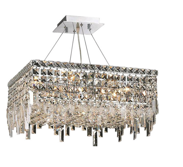 square 12 Light k9 art crystal glass Chandeliers in Chrome