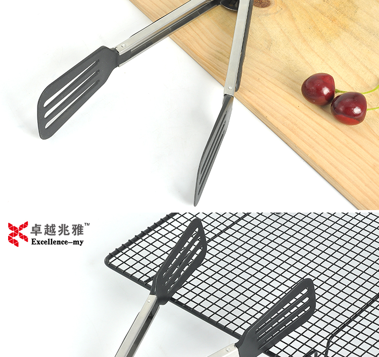 "12"" Nylon Head stainless steel Food Serving BBQ Tongs 2912 nylon salad tong"