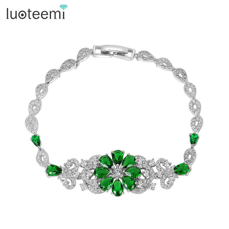 LUOTEEMI 4 Colors New Romantic Beautiful Flower Bracelet Withe Gold Plated <strong>Jewelry</strong> For Women Charming Bride Wedding Charm Bijoux
