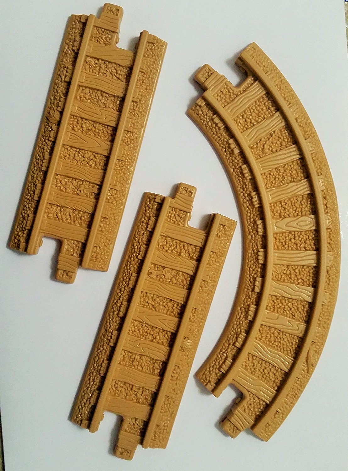 """GeoTrax Straight Six-Inch Curved 10"""" Track Segments (3) - Replacement Piece - Classic Fisher Price Geo Trax Collectible - Loose Out Of Package (OOP) Engine Cars Track Transportation Tracks"""