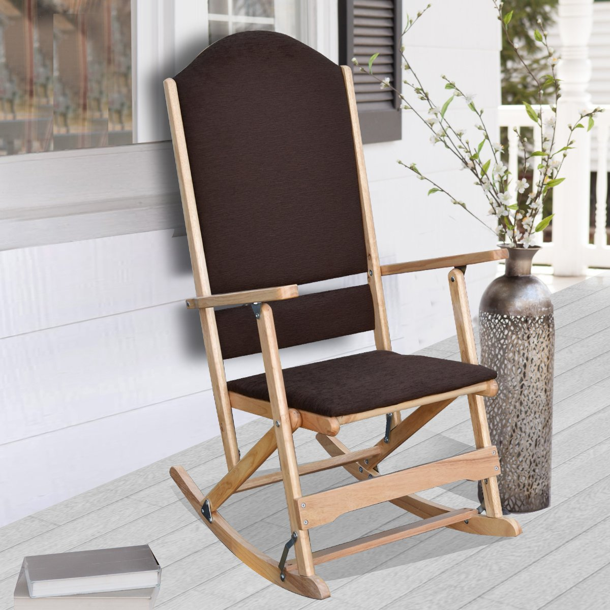 Get Quotations · Louis Solid Wood Folding Rocking Chair With Upholstered  Seat U0026 Back   Natural