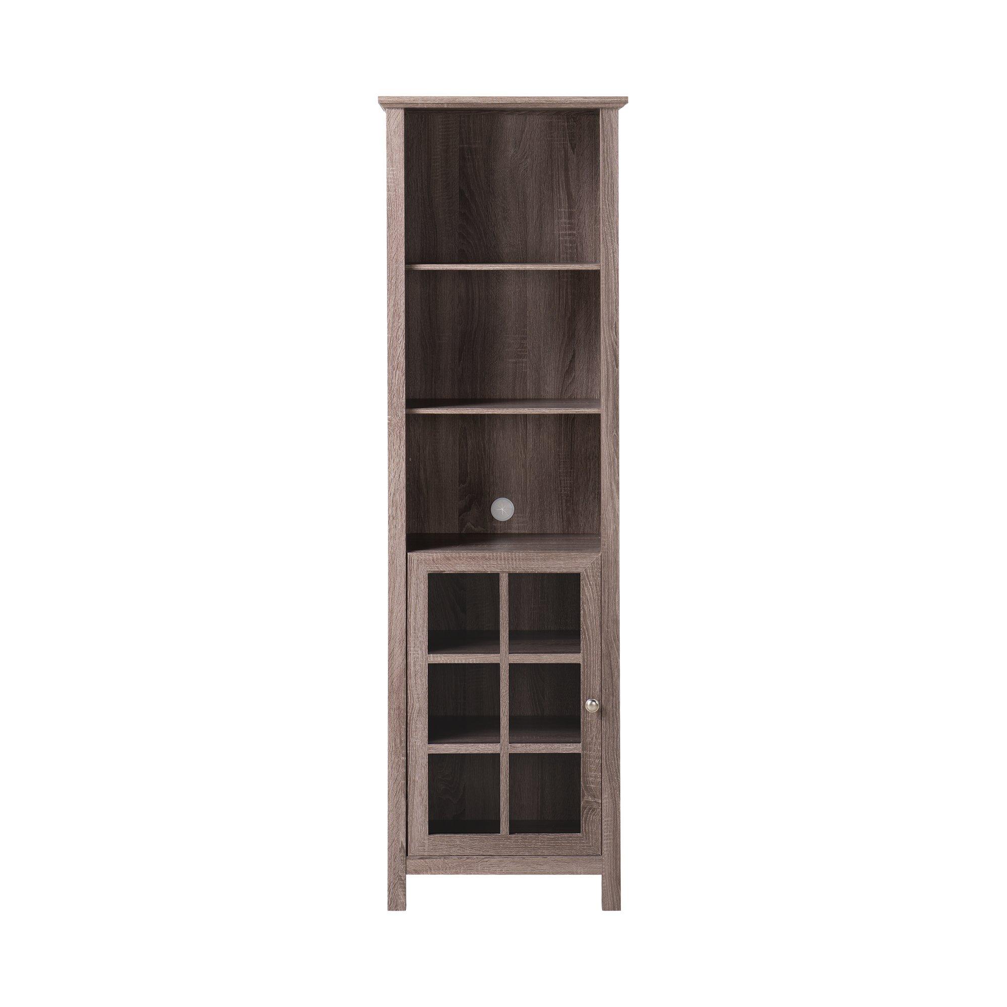 Buy Tall Windowpane Maple Finish Bookcase Media Storage