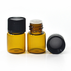Wholesale essential oil glass bottle 1ml 2ml 3ml 5ml mini sample amber glass vial with Inner plug and screw cap