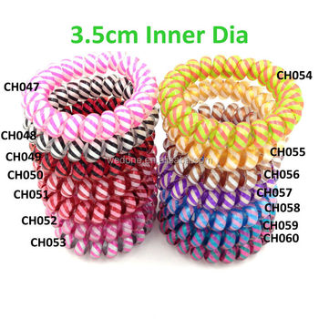 Stripe Pattern Telephone Wire Coil Hair Elastic Band Hair Tie - Buy ... 745befb2b9b