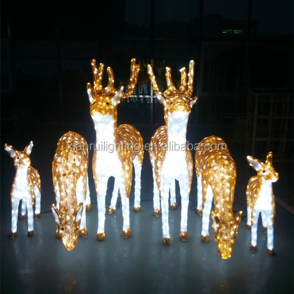 Led acrylic lighting outdoor led deer christmas reindeer for Outdoor christmas figures