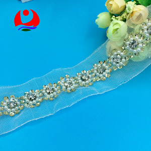 Fashionable Floral Design Sequins Lace Trimming with Big Rhinestone Pearl Beads sew on mesh