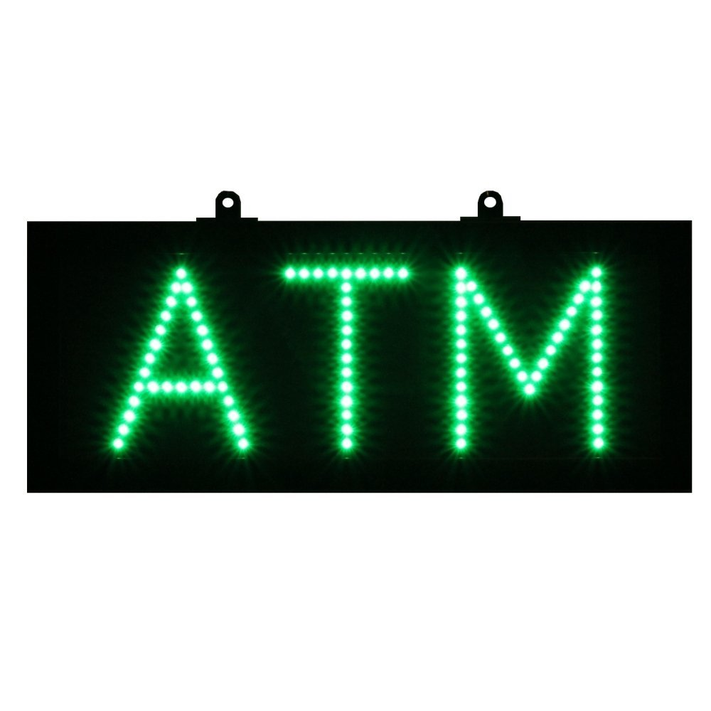 ATM LED Sign w/ Flashing and Power (On & off) two Switchs for Business ATM Machine (Green)