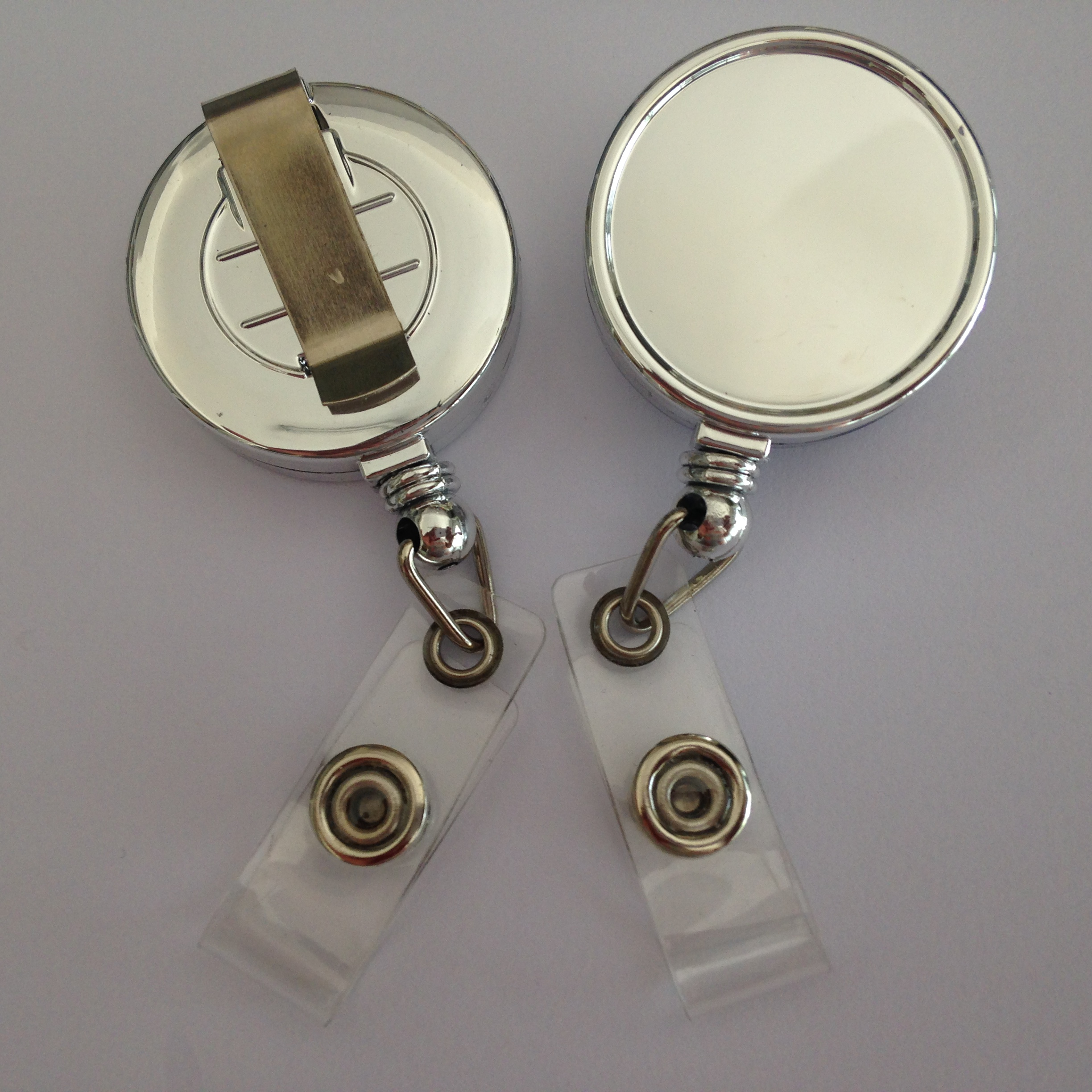 Chrome plate silver color plastic badge holder