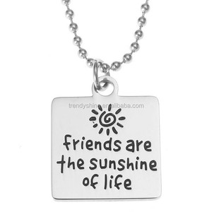 Cheap silver stainless steel engraved friendship trendy necklace