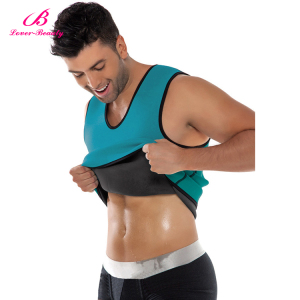 Lover-Beauty Tight Slimming Vest Blue Zipper Neoprene wear Men Body Shaper