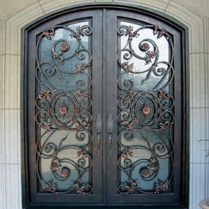 Eyebrow arch steel entry door front security screen main doors single iron entry front door