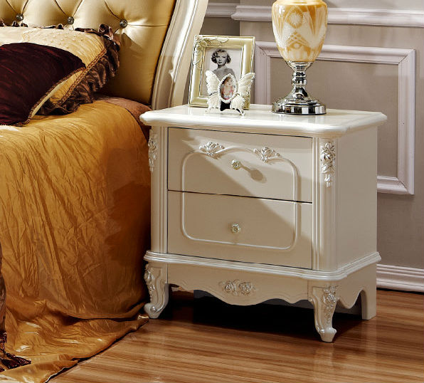 Antique Looking Furniture Cheap: White And Antique Night Stand Side Table In Bedroom Set