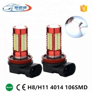 Universal Auto Head Lights Bulbs 4014 Chip 106 SMD H8 H11 9005 9006 H4 H7 Socket LED Fog Lamp DC 12V Car Headlight DRL With Lens