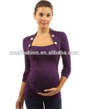Ruched Maternity Top with big button