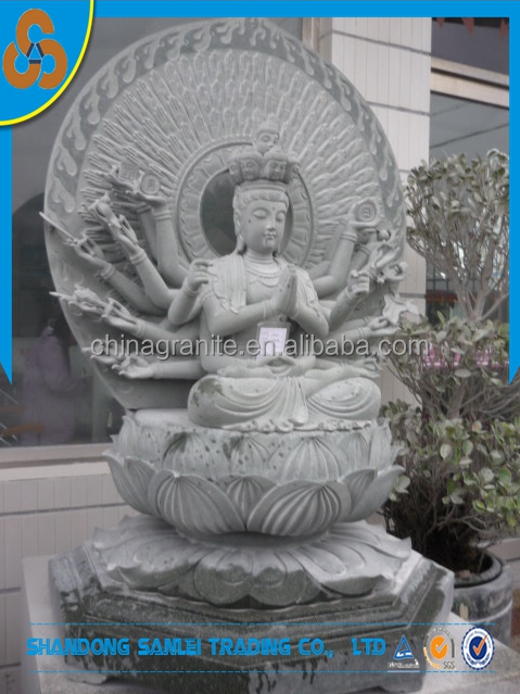 decorative natural stone carved qianshou kwan yin thousand hands buddha sculpture
