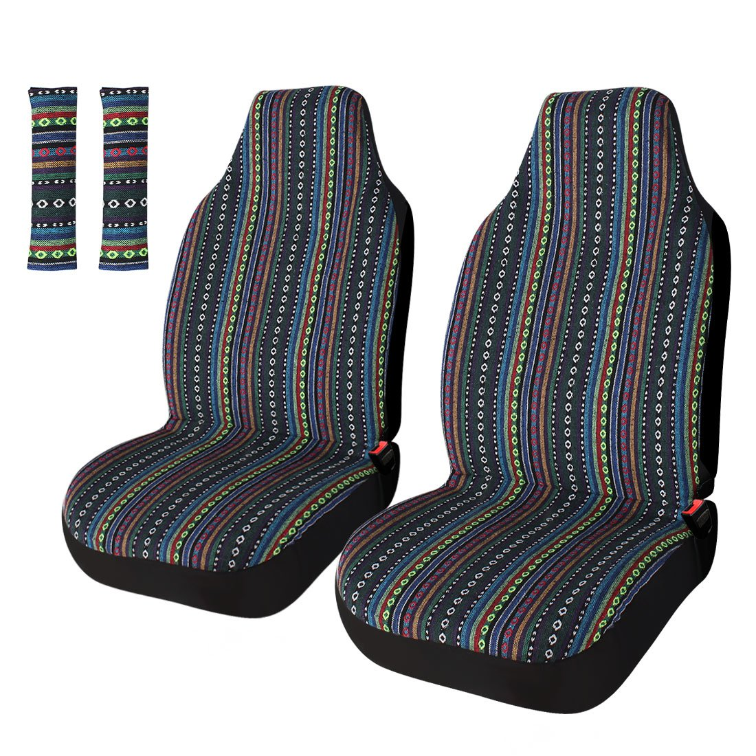 Copap Universal Stripe Colorful 4pc Front Seat Covers Saddle Blanket Baja Bucket Seat Cover with Seat-Belt Pad Protectors for Car, Truck & SUV