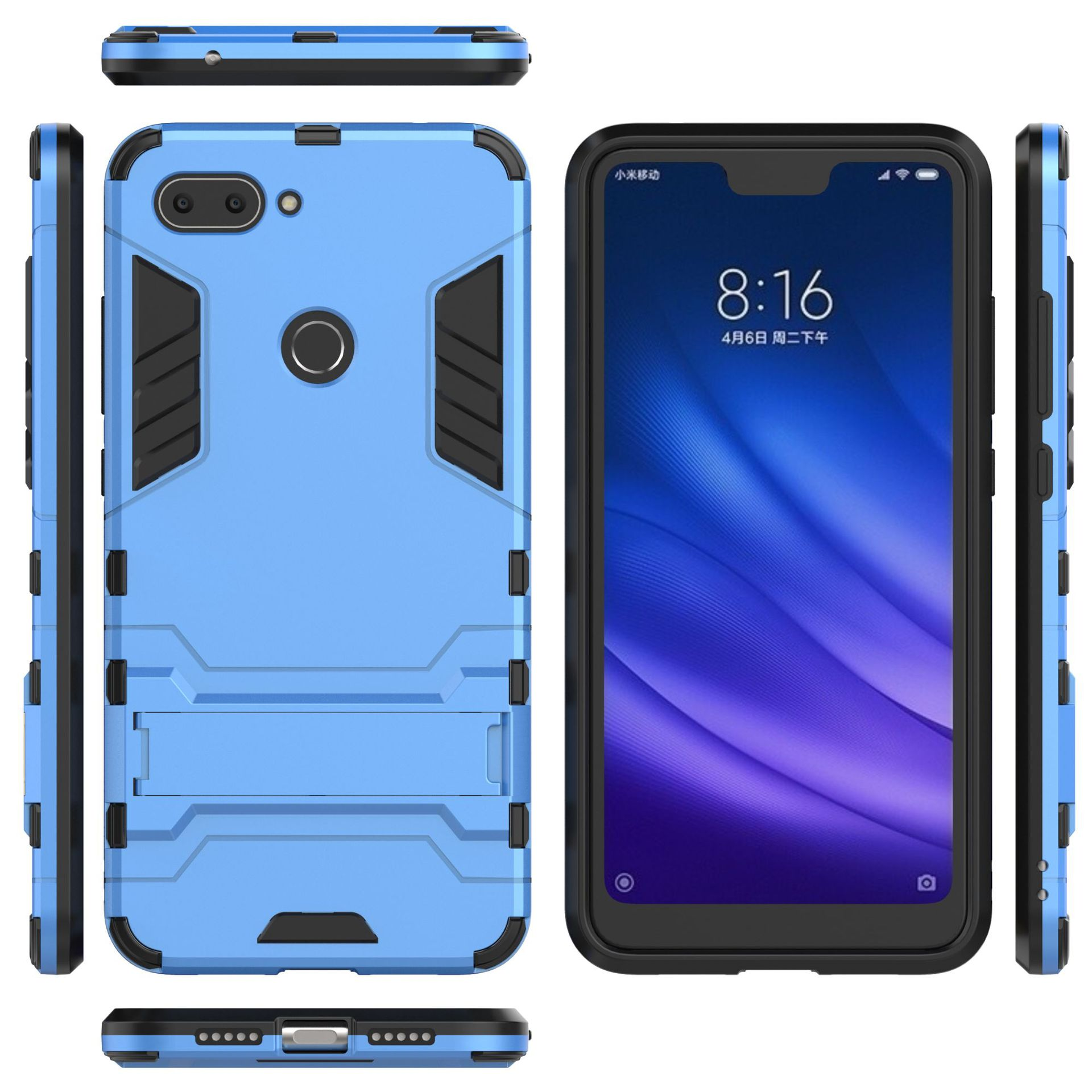 Anti Shock Proof Phone Case PC+Silicone Stand Cover Rubber Robot Armor Phone Shell for Xiaomi Mi8 lite