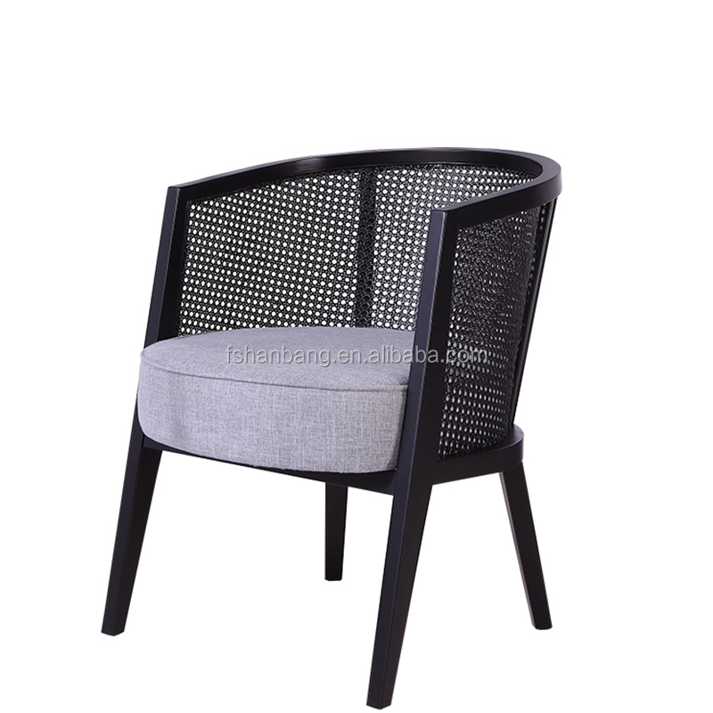 Nordic Style Cafe French Natural Rattan Wood Cane Dining Chair