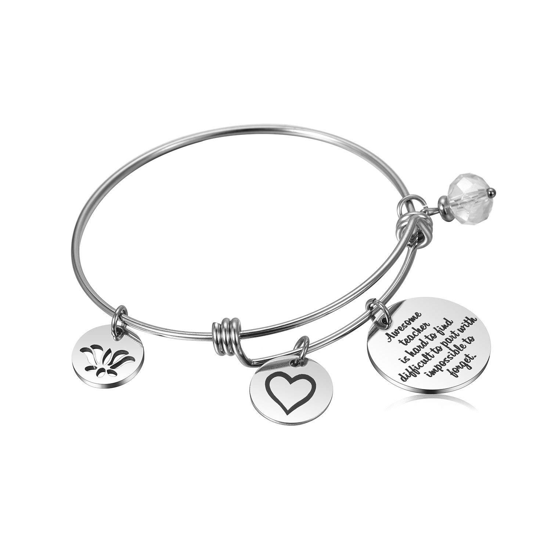d023282cb2 Alxeani Teacher Appreciation Gifts for Women Stainless Steel Teacher Bangle  Bracelet for Teacher Appreciation/Thank