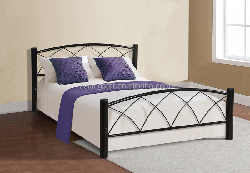 Simple iron bed designs queen size iron metal platform bed
