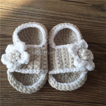 35c448832 Hand Made Beige Color Flip Flop Newborn Baby Crochet Sandals - Buy ...