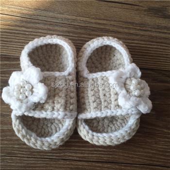 Hand Made Beige Color Flip Flop Newborn Baby Crochet Sandals Buy