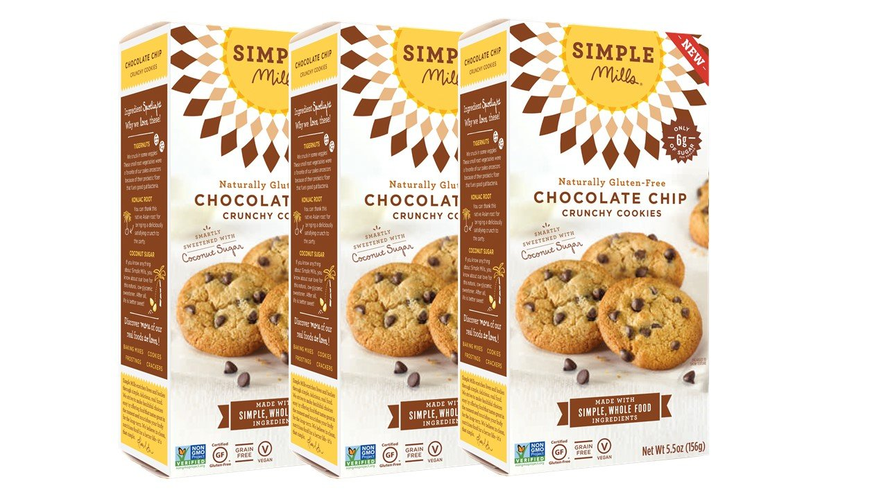 Simple Mills Naturally Gluten Free Crunchy Cookies, Chocolate Chip, 3 Count PACKAGING MAY VARY