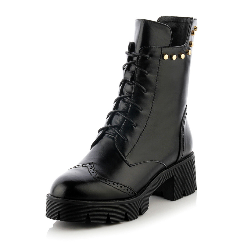61f46e31b359 Get Quotations · 2015 New Arrival Women Black Boots Genuine Leather Women  Ankle Boots Punk Vintage Rivets Ladies Chunky