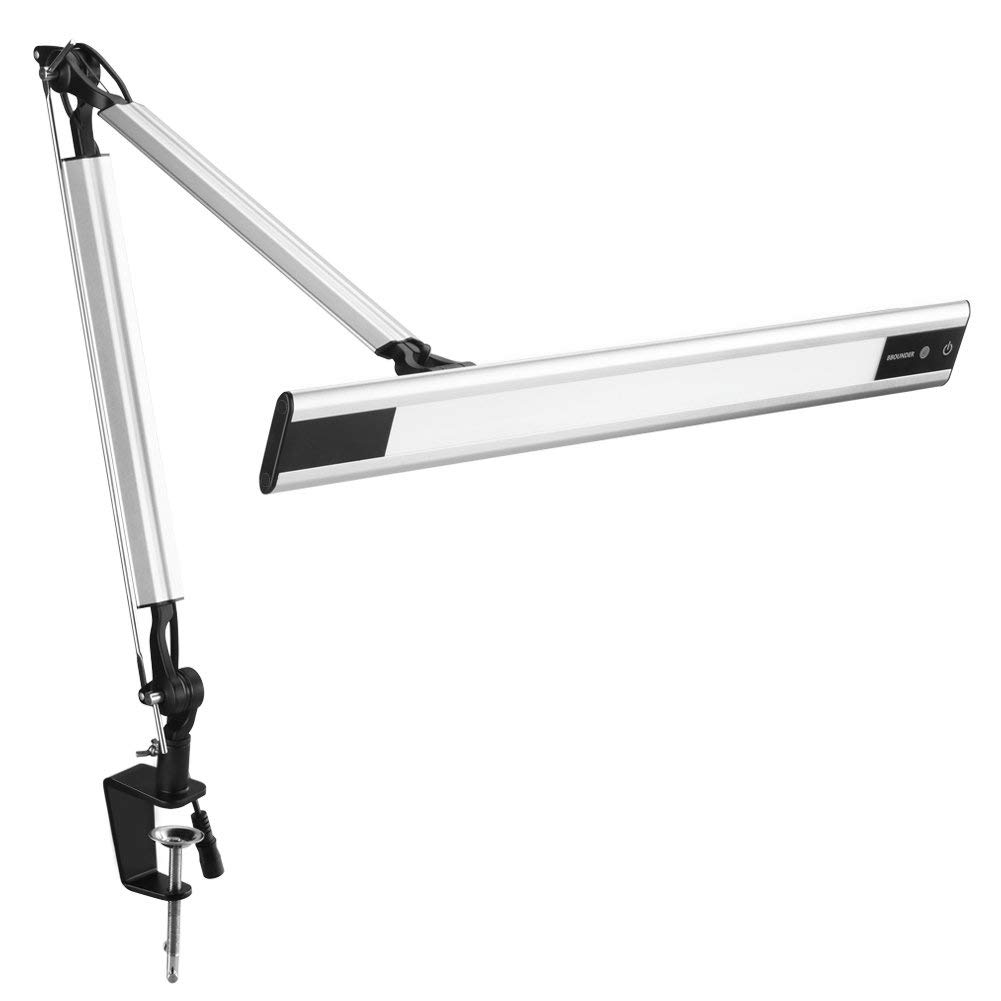 Metal Swing Arm Desk Lamp Phive Architect Lamp Led Task Lamp With Clamp Silver Eye Care Technology Dimmable 6 Level Dimmer 4 Lighting Modes With Touch Control Memory Function Office Light