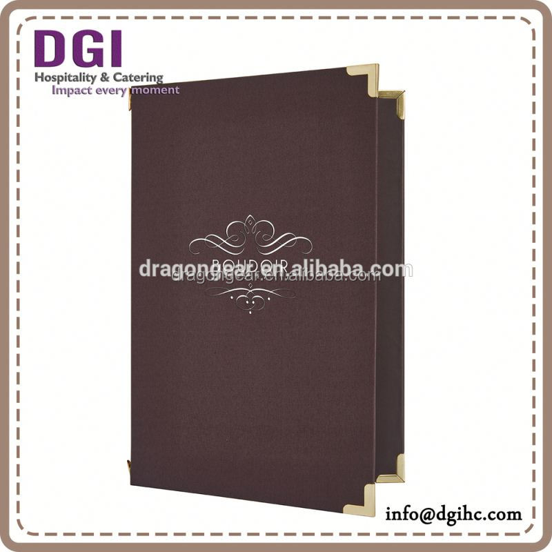 Hotel equipment flip cover leather pocket folder menu book soft drink refrigerator