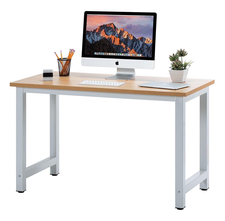 "Fineboard 47"" Stylish Home Office Computer Desk Writing Table Elegant & Modern Design, Beige/White"