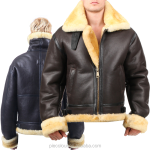 B3 shearling Bomber Fur pilot World II Flying aviation air military The most warm Polar Coa Leather jacket US Force The most wa