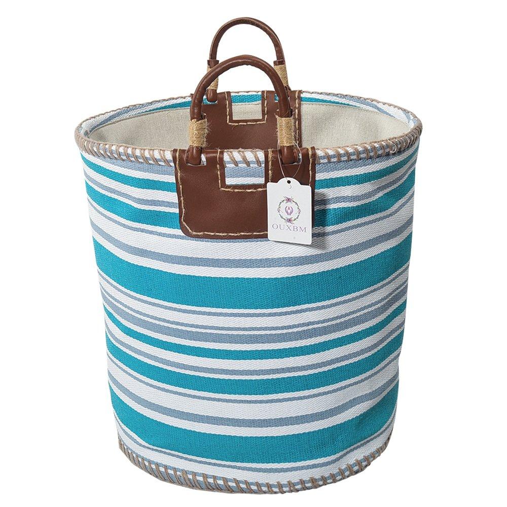 "OUXBM Woven Storage Basket, 15"" x 14.2"" Organization Bin with Leather Handle for Towel, Laundry, Magzine, Gift Basket (15"" x 14.2"", stripe white+cyan)"