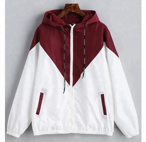 Custom Sublimation Stitching Color Fashion Windproof Polyester Men Women Hooded Jacket