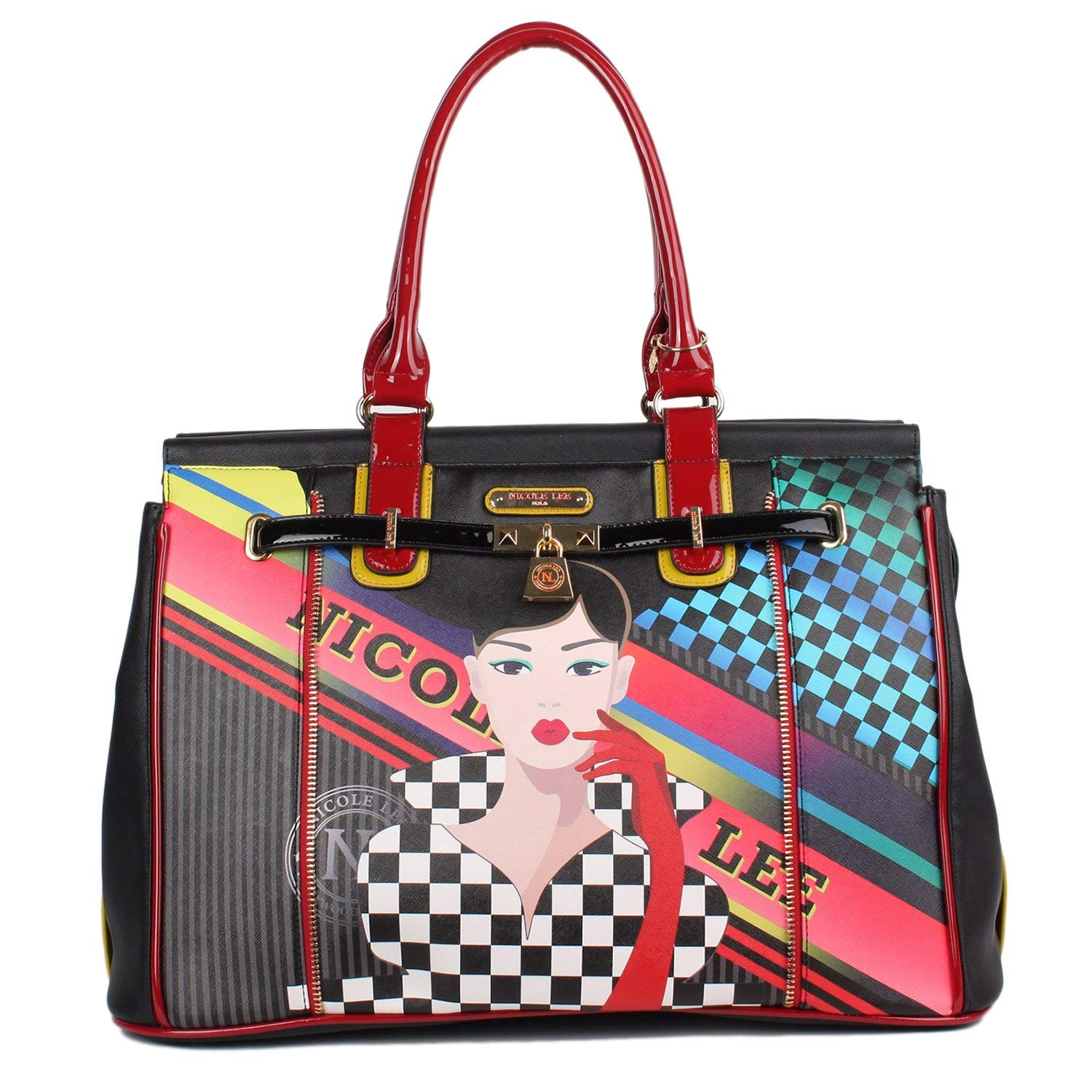 c5a141f249 Get Quotations · Nicole Lee Women s Printed  Red  Duffel Tote Weekend  Overnighter Padded Laptop Compartment Travel Shoulder