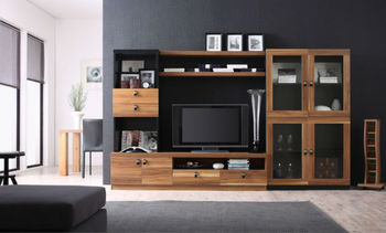 2014 Simple Modern Tv Wall Unit Design Was Made From E1 Solid Chipboard  With Painting For
