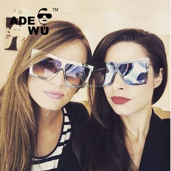 5ce8b832556ef ADE WU 2018 Luxury Rimless Sunglasses Women Brand Designer Big Fram  integrated Sun Glasses De Sol