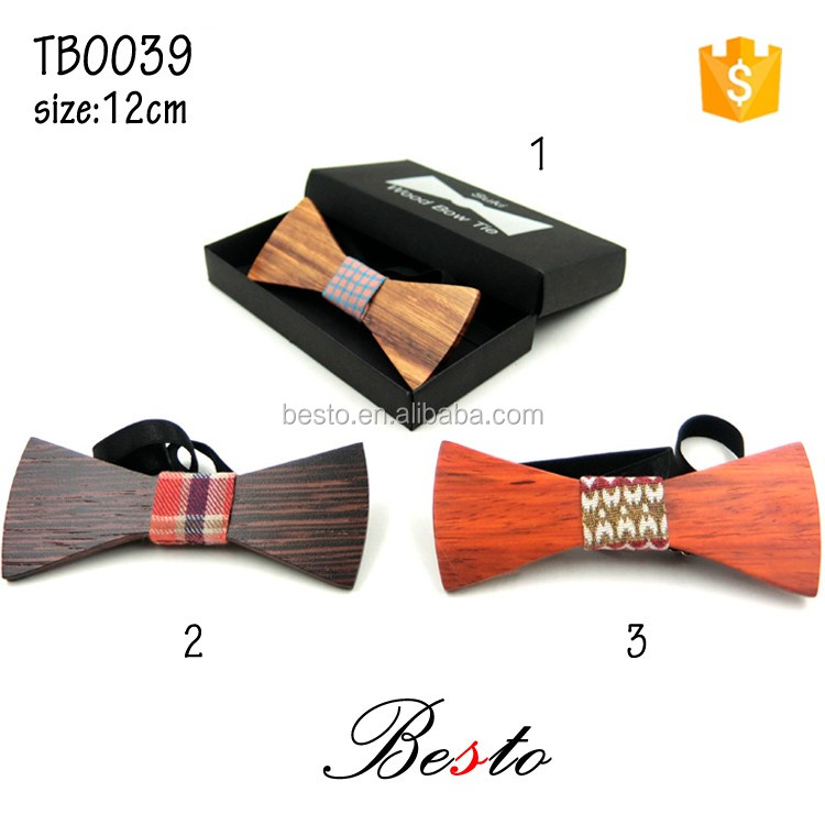 Fashion men printed fabric center wooden bow tie with elastic band