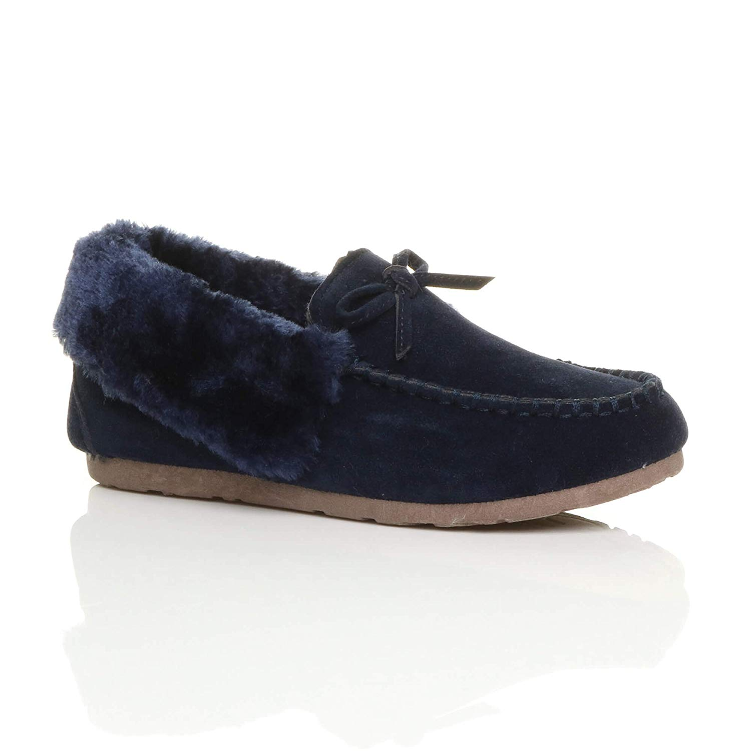 d282fe6bed9 Get Quotations · Ajvani Women s Fur Collar Lined Moccasins Slippers Size