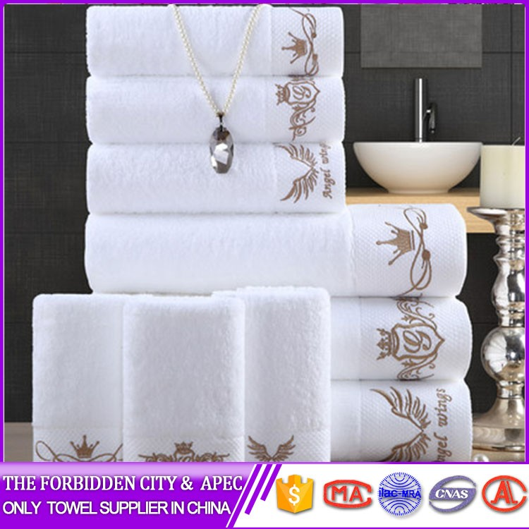 Strong color fastness high quality wholesale hotel white towel custom logo