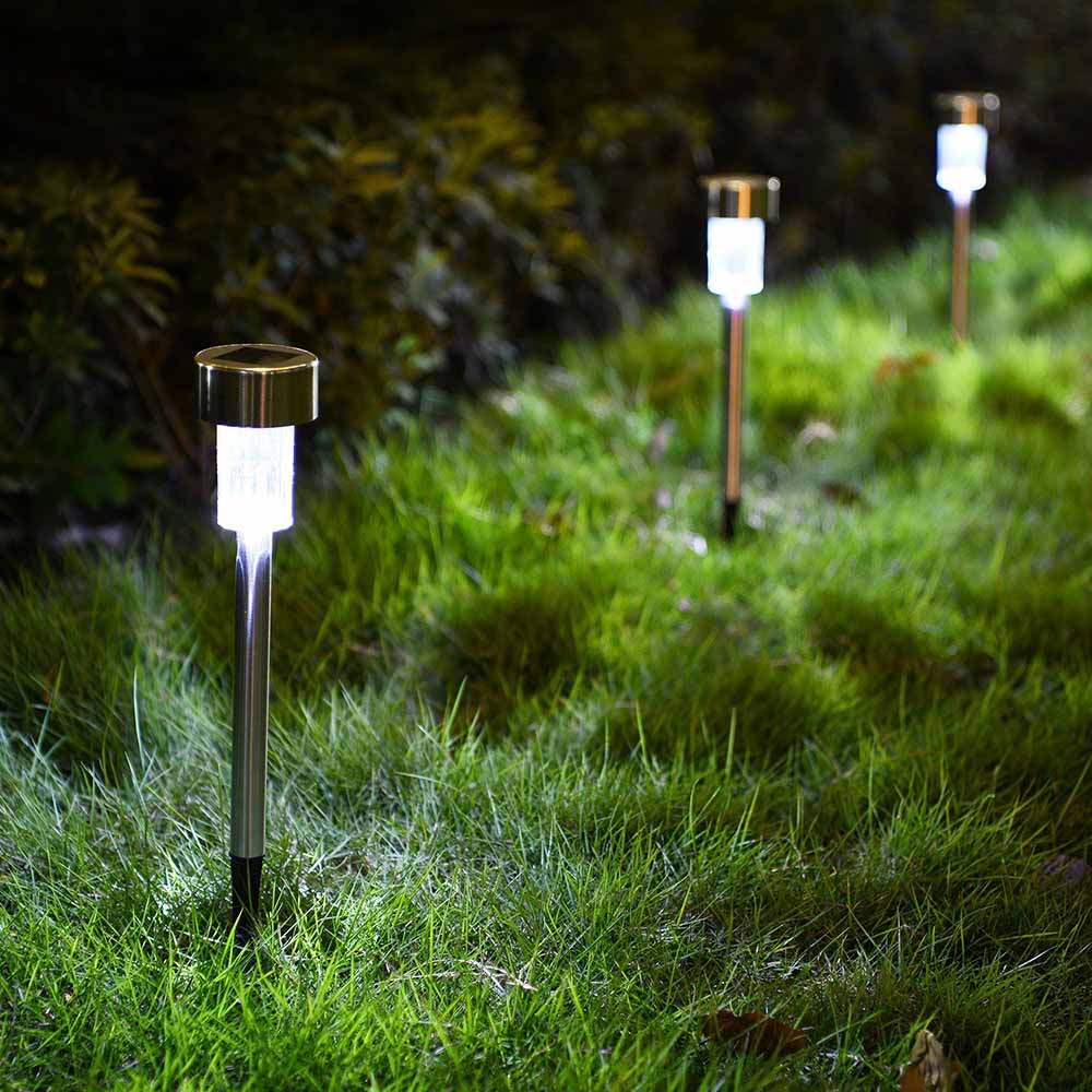 RGB color changing decoration stainless steel landscape outdoor garden led powered solar stick light for pathway yard