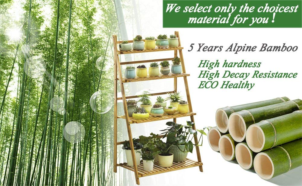 Bamboo 3 tier bamboo shelves for foldable bamboo gardening rack holding plant 3