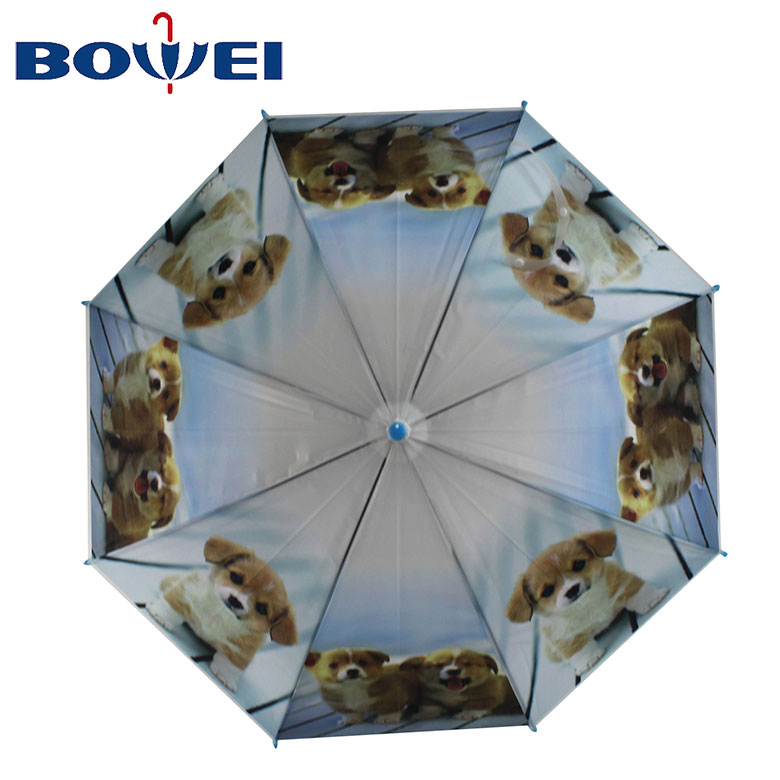 2020 Custom wholesale branded J handle  fashion umbrellas dog print kids umbrella