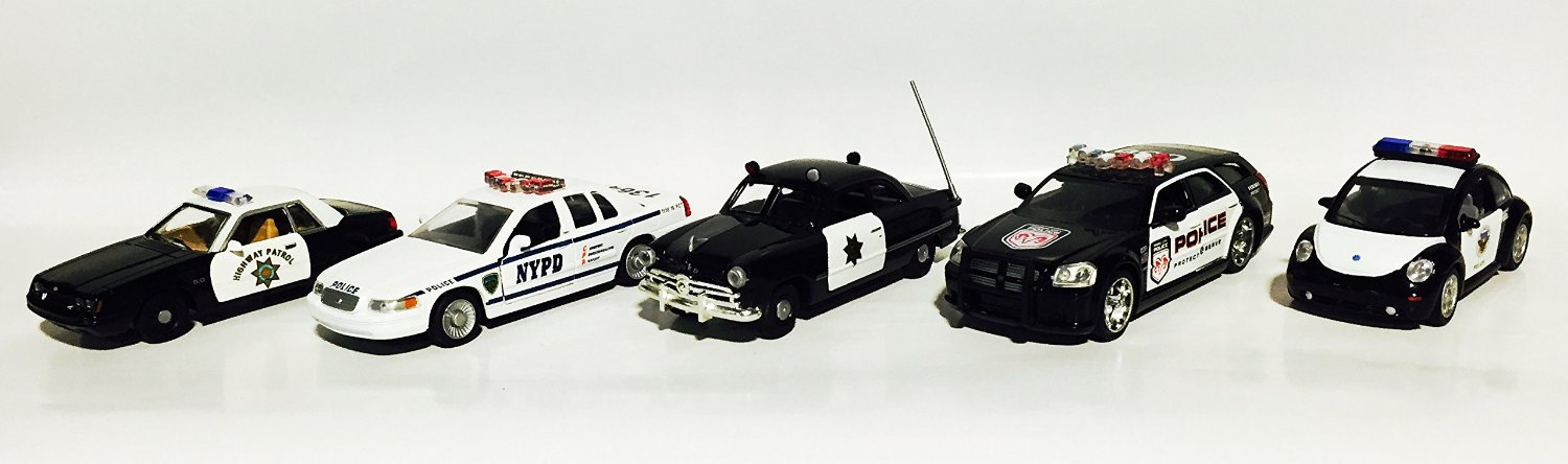USA Police set of 5 metal car 1:43 scale models (Ford Mustang, Ford Crown Victoria, Ford Coupe, Dodge Magnum R/T City Police, Volkswagen Beetle Police Department) [Amercom PL-1S]