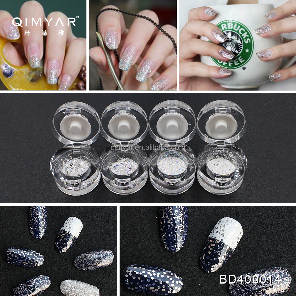 2017 NEW 12 Designs Nail Import Fashion White AB acrylic glitter sequins shiny decals powder